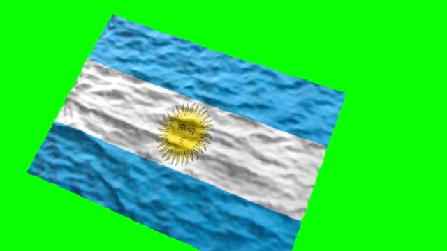 Bandera Argentina estadio. Saludando en pantalla verde - vídeo