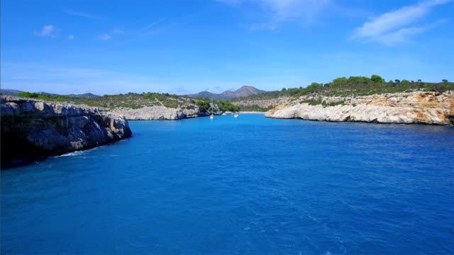 Arial View of Cala Magraner on east coast on Spanish Balearic island of Majorca / Spain video