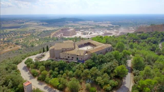 Arial View of monastry Santuari de Monti Sion on Balearic Island Majorca / Spain video
