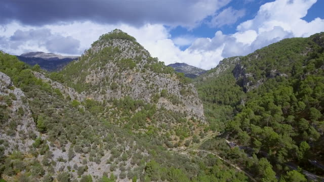 Arial View of mountain range and mountain side with olive trees (terraced field) on Sierra de Tramuntana / Majorca - Spain video