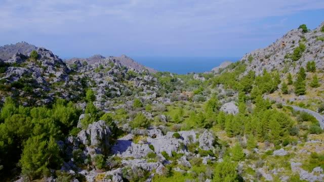 Arial View of mountain range near by Sa Calobra - Seerra de Tramuntana / Majorca - Spain video