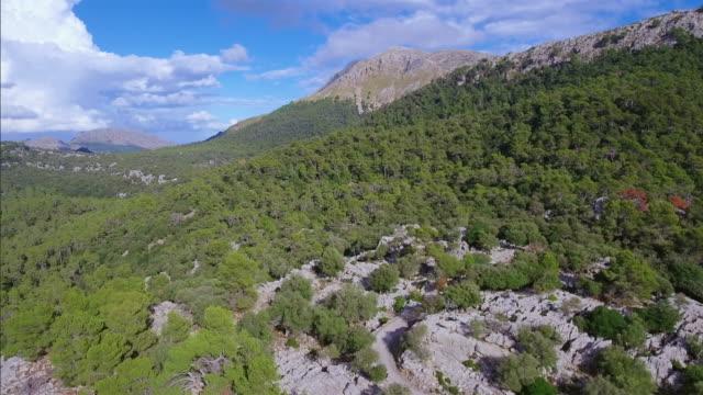 Arial View of mountain range of Serra de Tramuntana / Majorca - Spain video