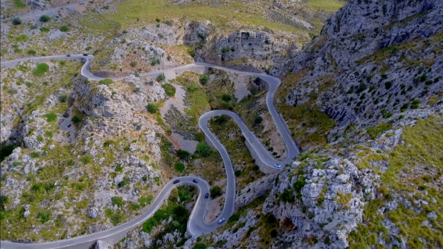 Arial View of mountain range with Hairpin turn near by Sa Calobra - Serra de Tramuntana / Majorca - Spain video