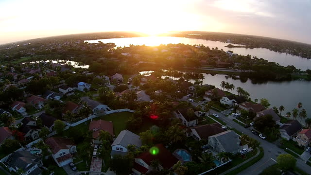 Arial view of neighborhood at sunset video