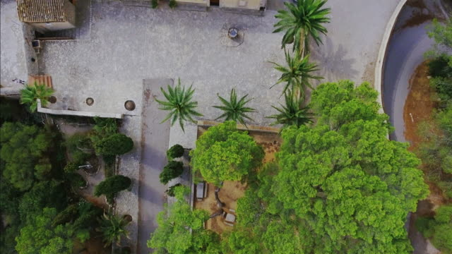 Arial View of Santuario (Ermita) de Nostra Senyora de Bonany , on Puig de Bonany of Majorca video