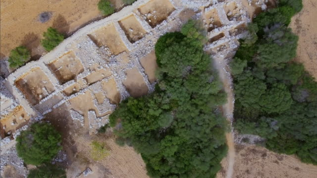 Arial View of Talaiotic settlement of Capocorb Vell on Balearic islands Majorca / Spain video
