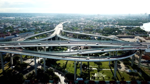 Ariel Shot Top View Traffic At The Bhumibol Bridge Over The