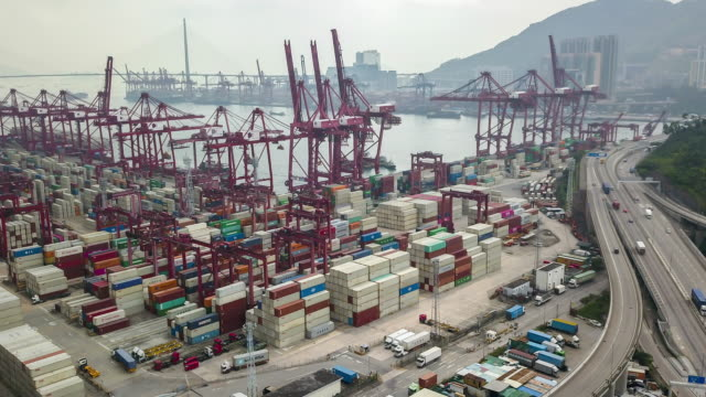 Ariel view of Flying drone in Hong Kong Kwai Tsing Terminals port - vídeo