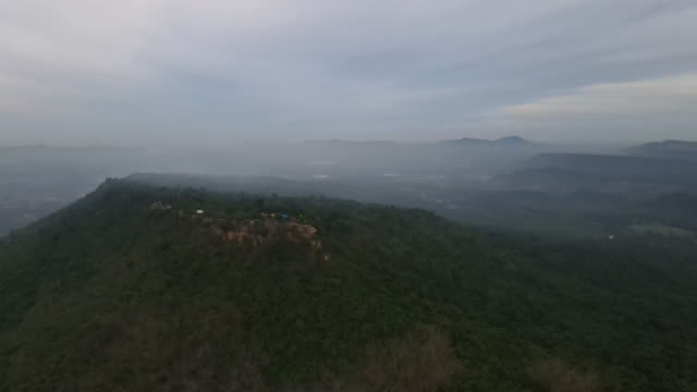 Ariel view of Khao Phra Ya Dern Thong peak. Phatthana Nikhom, Lopburi Thailand
