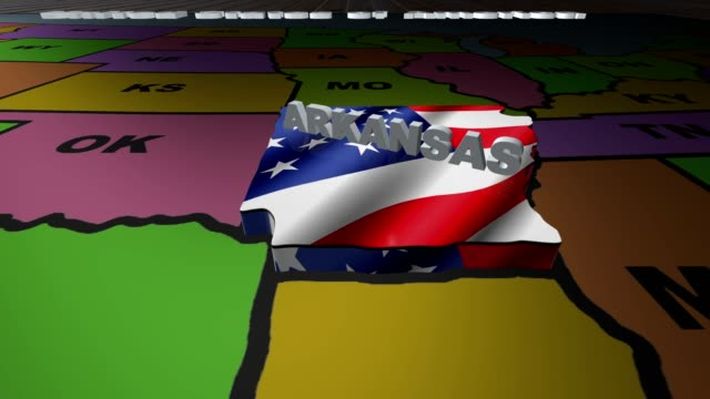Arkansas pull out from USA states abbreviations map video