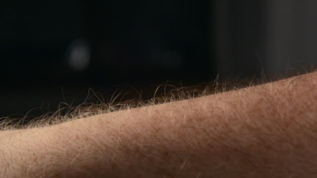 arm hair rising slow motion - adrenalina video stock e b–roll