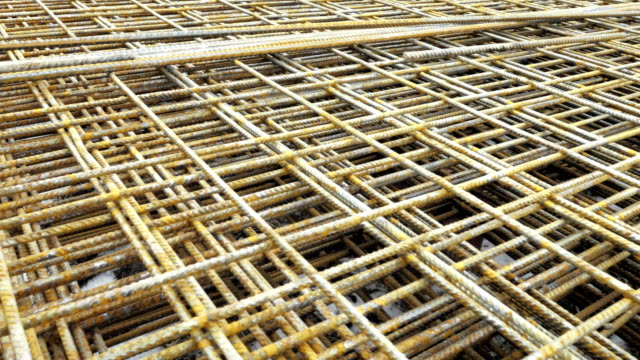 armature made of wire wires, concrete ceilings reinforcement - spranga video stock e b–roll
