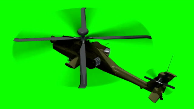armed Helicopter  Apache in fly - green screen