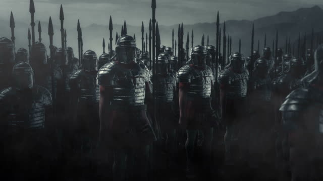 Armed Roman Legion Soldiers Going to War