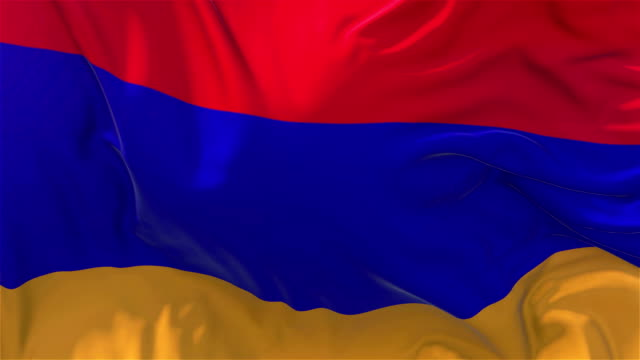 vídeos de stock e filmes b-roll de armenia flag in slow motion classic flag smooth blowing in the wind on a windy day rising sun 4k continuous seamless loop background - democracy illustration