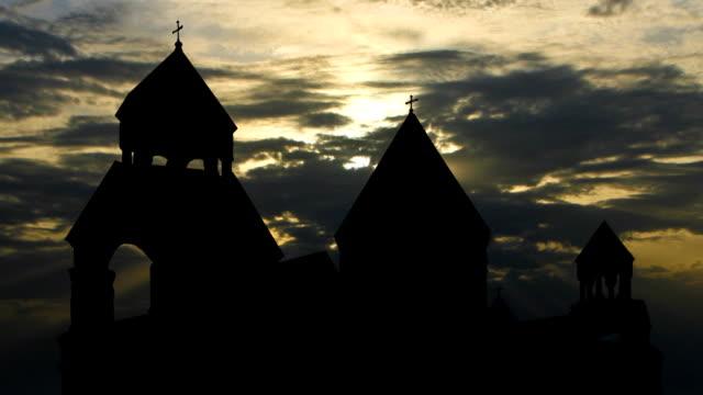 Armenia monastery of St.Echmiadzin sunset clouds video