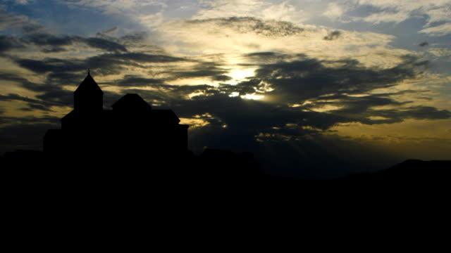 Armenia The monastery of Sevan golden sunset video