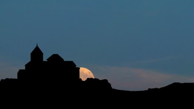 Armenia The monastery of Sevan moonrise video