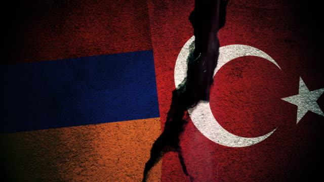Armenia vs Turkey Flags on Cracked Wall video