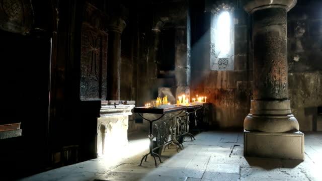 Armenian apostolic church. Light falling inside the Geghard monastery in Yerevan, Armenia.