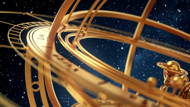 Armillary Sphere On Background Of Starburst. Part1. video