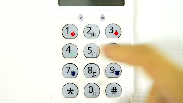 stockvideo's en b-roll-footage met arming security system - alarm, home,