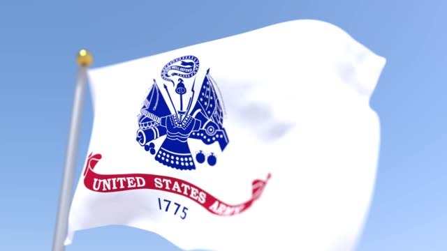 US Army Flag US Army Flag waving in wind with blue sky background us military stock videos & royalty-free footage