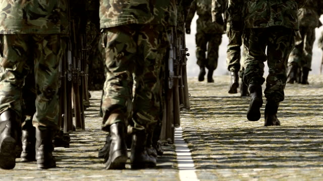 Army Soldiers Marching in camouflage uniform-slowmotion video