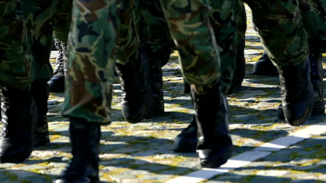Army Soldiers Marching in formation-slowmotion video