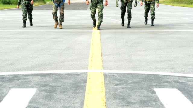 Army Soldiers Marching Line Of Troops Group Of Army Soldiers Walking Line Formation veteran stock videos & royalty-free footage