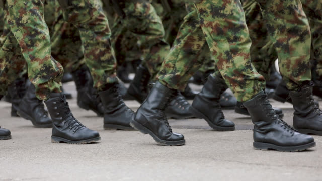 Army Soldiers Marching on Military Parade video