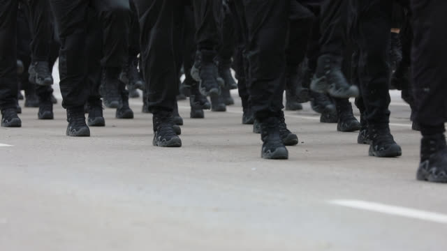 Army Soldiers Marching on Military Parade Army Soldiers Marching on Military Parade practice drill stock videos & royalty-free footage