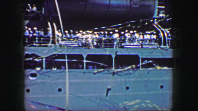 1944: US Army transport ship victory celebrate ribbon streamer decoration. video