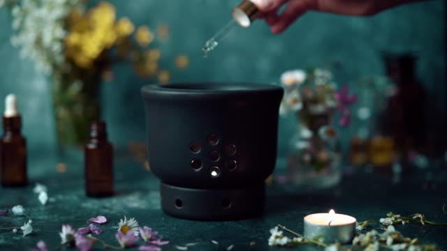 aromatheraphy spread - aromaterapia video stock e b–roll