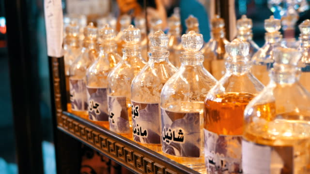 Aromatic oil and Perfume in Arabic Shop. Egypt