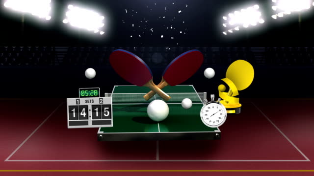 Around ping pong icon, table tennis, ping pong table, rackets. video
