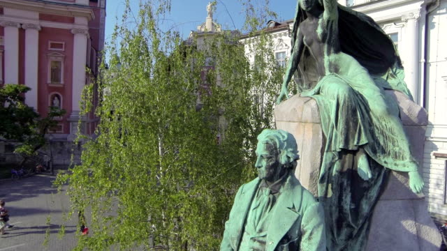 AERIAL: Around the statue in city center video