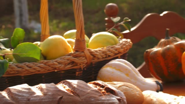Arrangement of fresh autumnal fruit and vegetables and homemade sweets on a table outdoors