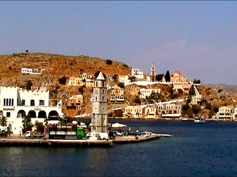 arriving at symi island - passenger craft stock videos & royalty-free footage