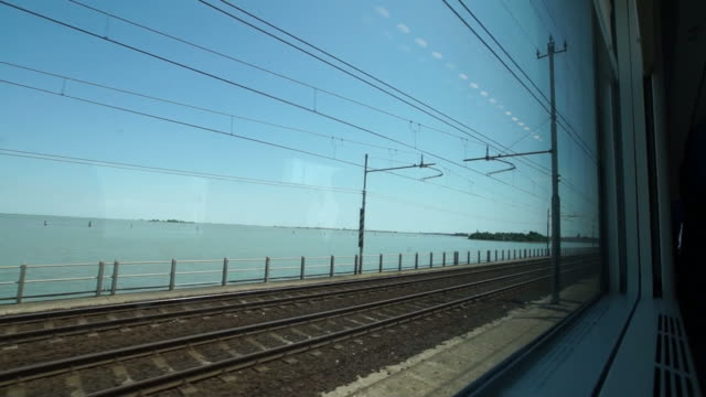 Arriving by train in the Venetian lagoon, Italy video
