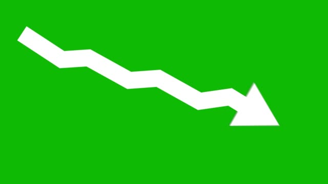 Arrow downward animated icon. Economic simple moving arow stock video