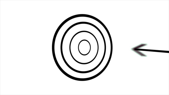 4k pfeil trifft zielanimation-center - schwarz / weiß - zielscheibe stock-videos und b-roll-filmmaterial