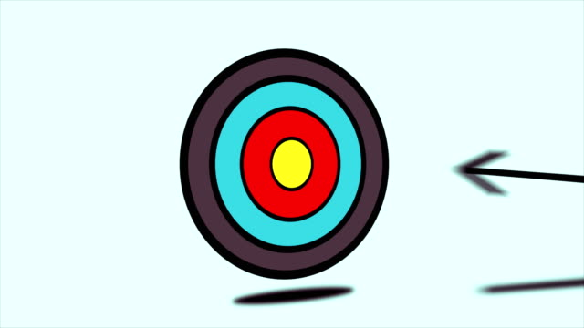 4K Arrow Hitting Center Of Target Animation - Colored video