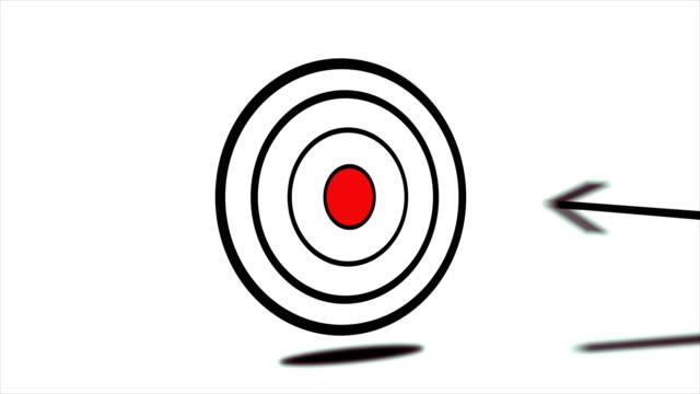 4K Arrow Hitting Center Of Target Animation video
