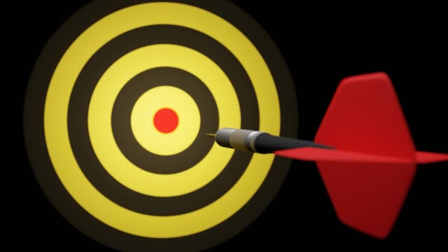 Arrow hitting in the target center of bullseye for Business focus concept, Modern style.