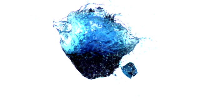 Arrow shooting through water balloon on white background video