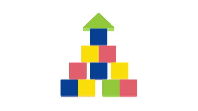 Video Arrow up shape of stack blocks. Creative toy blocks.