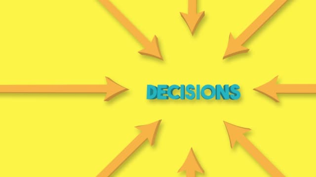 Arrows point to the Decisions word on the yellow background. 4K Video Animation.