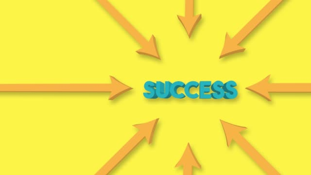 Arrows point to the Success word on the yellow background. 4K Video Animation.