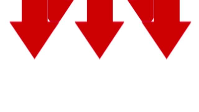 frecce che puntano verso il basso su sfondo bianco - andare giù video stock e b–roll